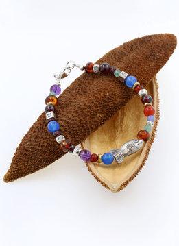 Armband Silberfisch, Farbedelsteine