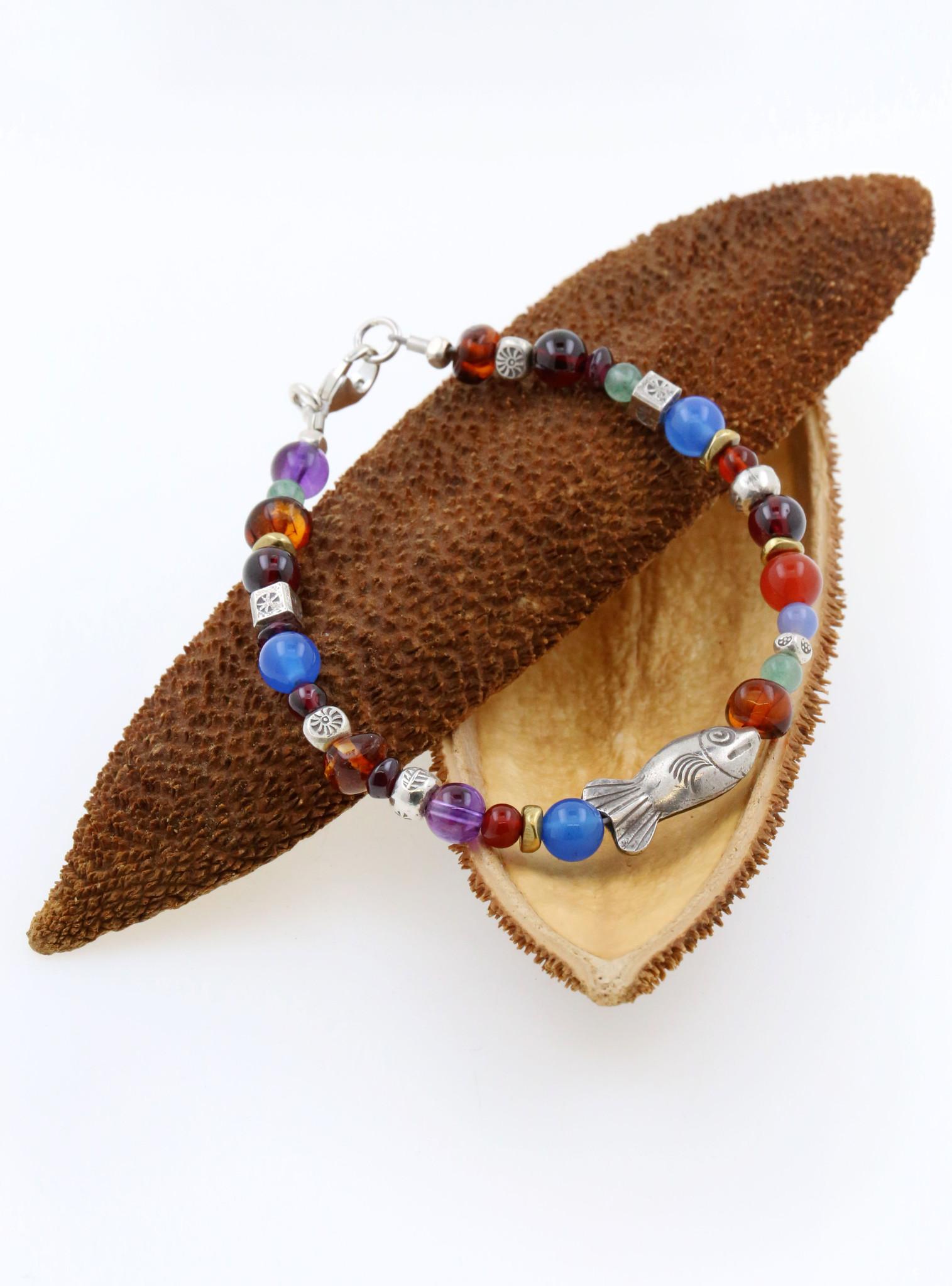 Armband Fisch, Farbedelsteine