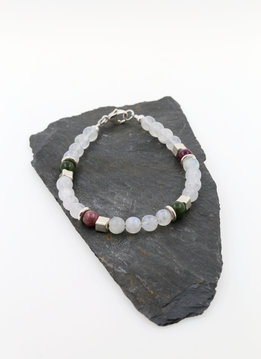 Armband Mondstein, Turmalin, Silber