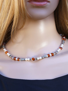 Halskette Labradorit, Bernstein, SW-Perle und Silberelemente, klein