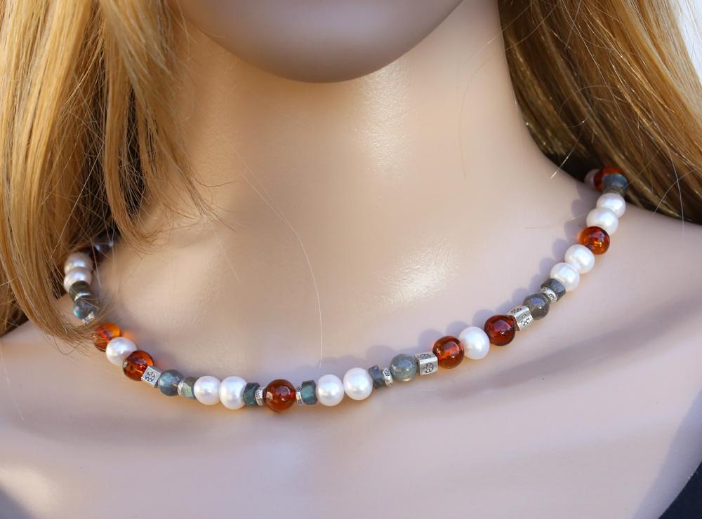 Halskette Labradorit, Bernstein, SW-Perle und Silberelemente, groß
