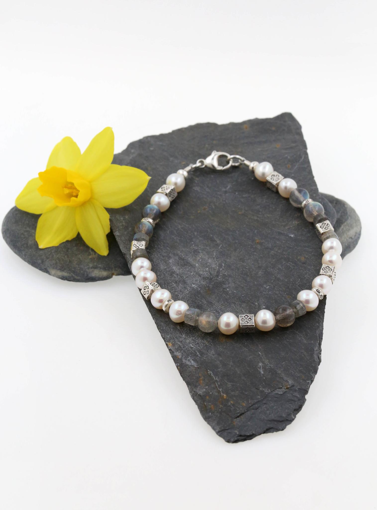 Armband Labradorit, SW-Perle, Silberelemente, klein