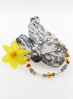 Armband Labradorit, Bernstein, SW-Perle und Silberelemente, klein
