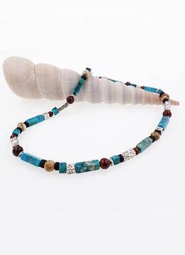 Halskette Türkis, Jaspis, Kokosnussschale und Silber