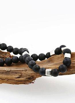 Halskette Lavasteinkugeln mit Silberwürfeln, klein