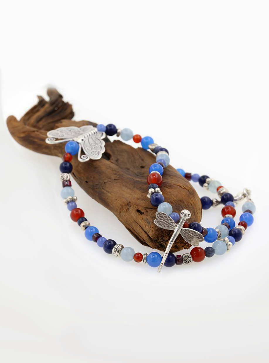 Halskette Schmetterling, Libelle, Farbedelsteine