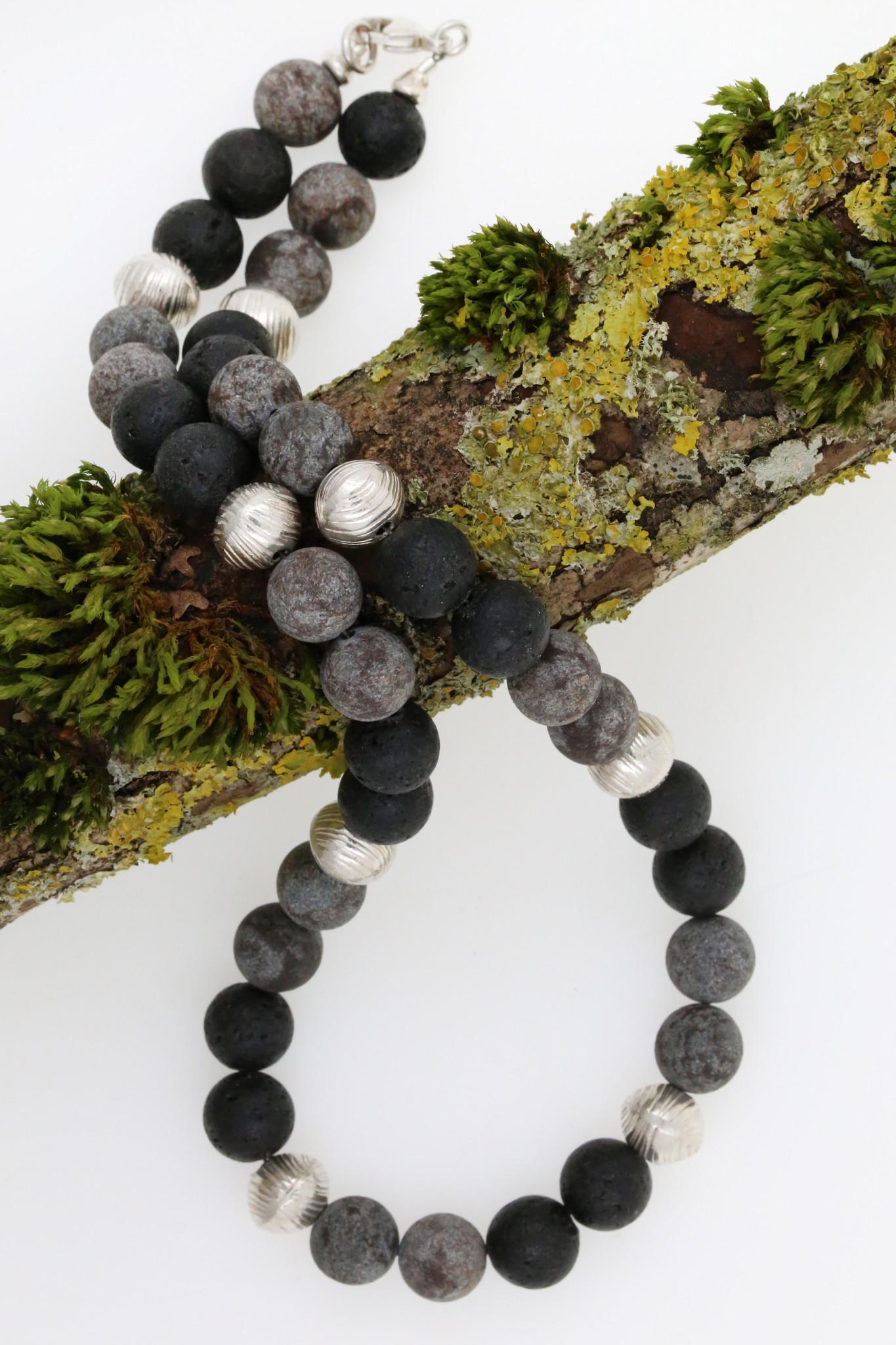Halskette Lavastein, Achat, Silber
