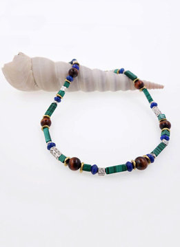 Halskette Malachit, Tigerauge, Lapis, Messing, Silber