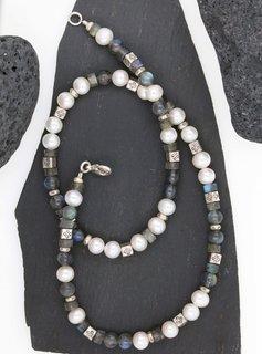 Halskette Labradorit, SW-Perle, Silberelemente, klein