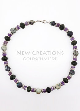 Halskette Chrysokoll, Nephrit, Amethystquarz, Silber