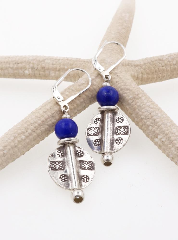 Ohrringe aus Lapislazuli und Silber