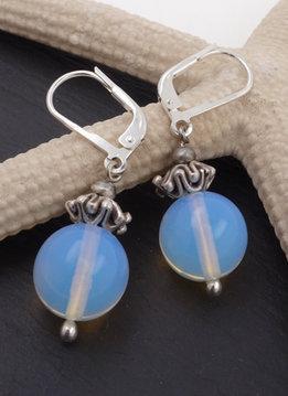Ohrringe Opalglas Silber