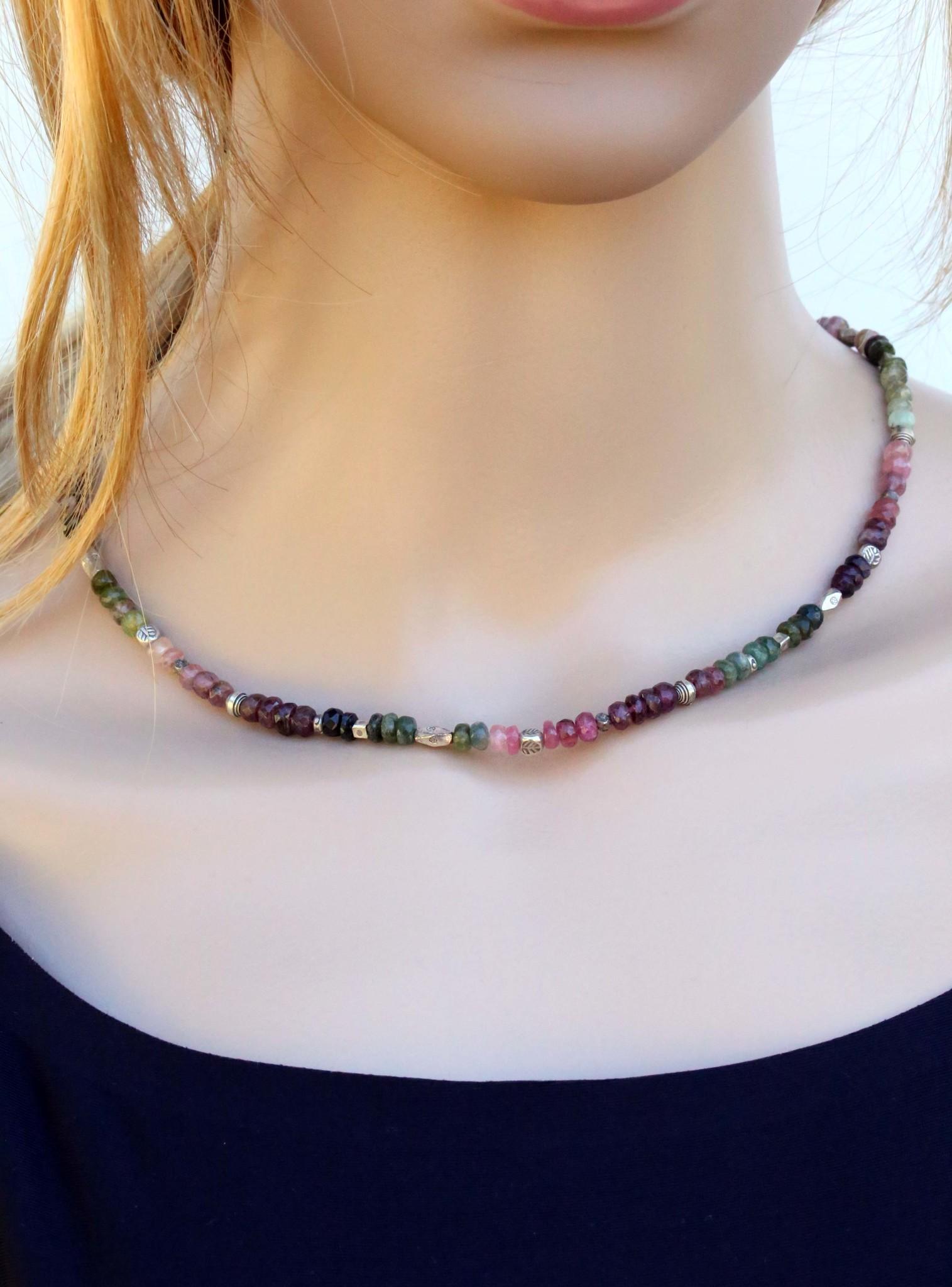 Halskette Turmalin multicolor facettiert mit Silberelementen