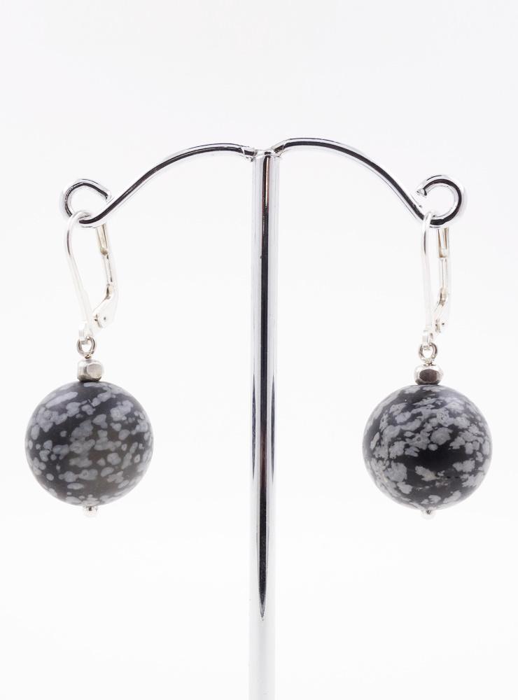 Ohrringe aus Schnellflockenobsidian und Silber