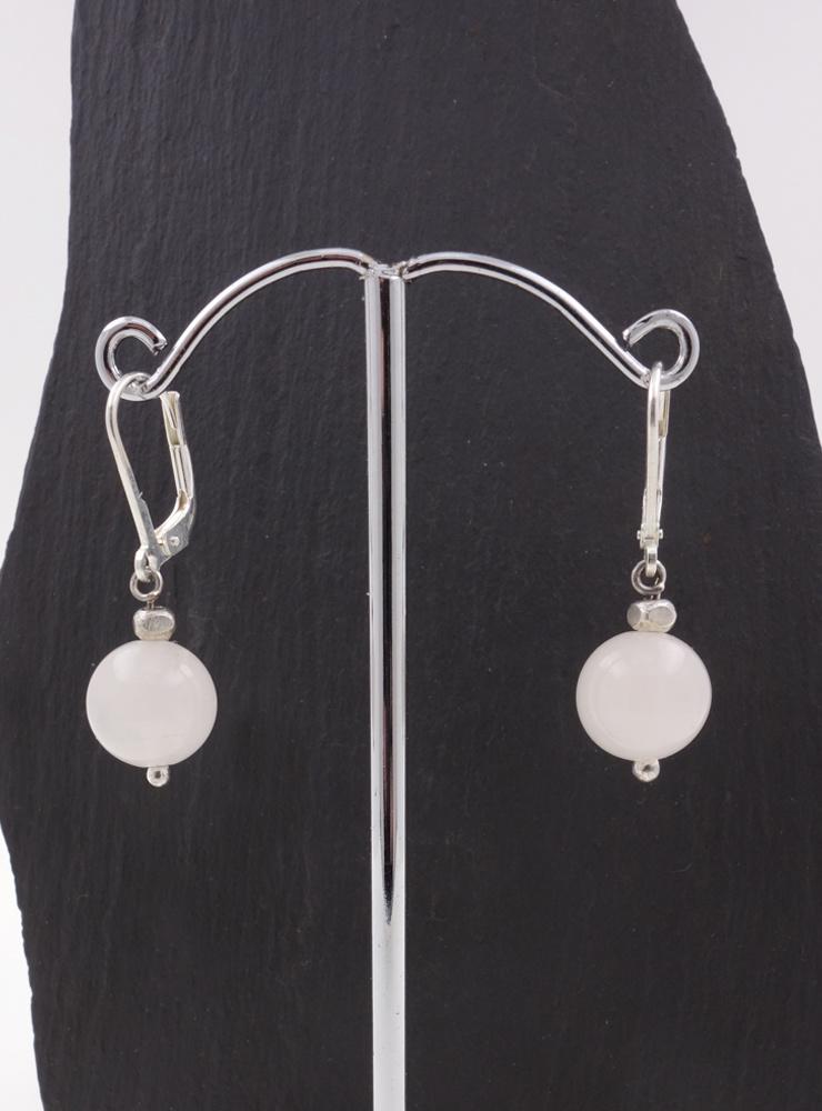 Ohrringe aus Rosenquarzkugeln und Silber