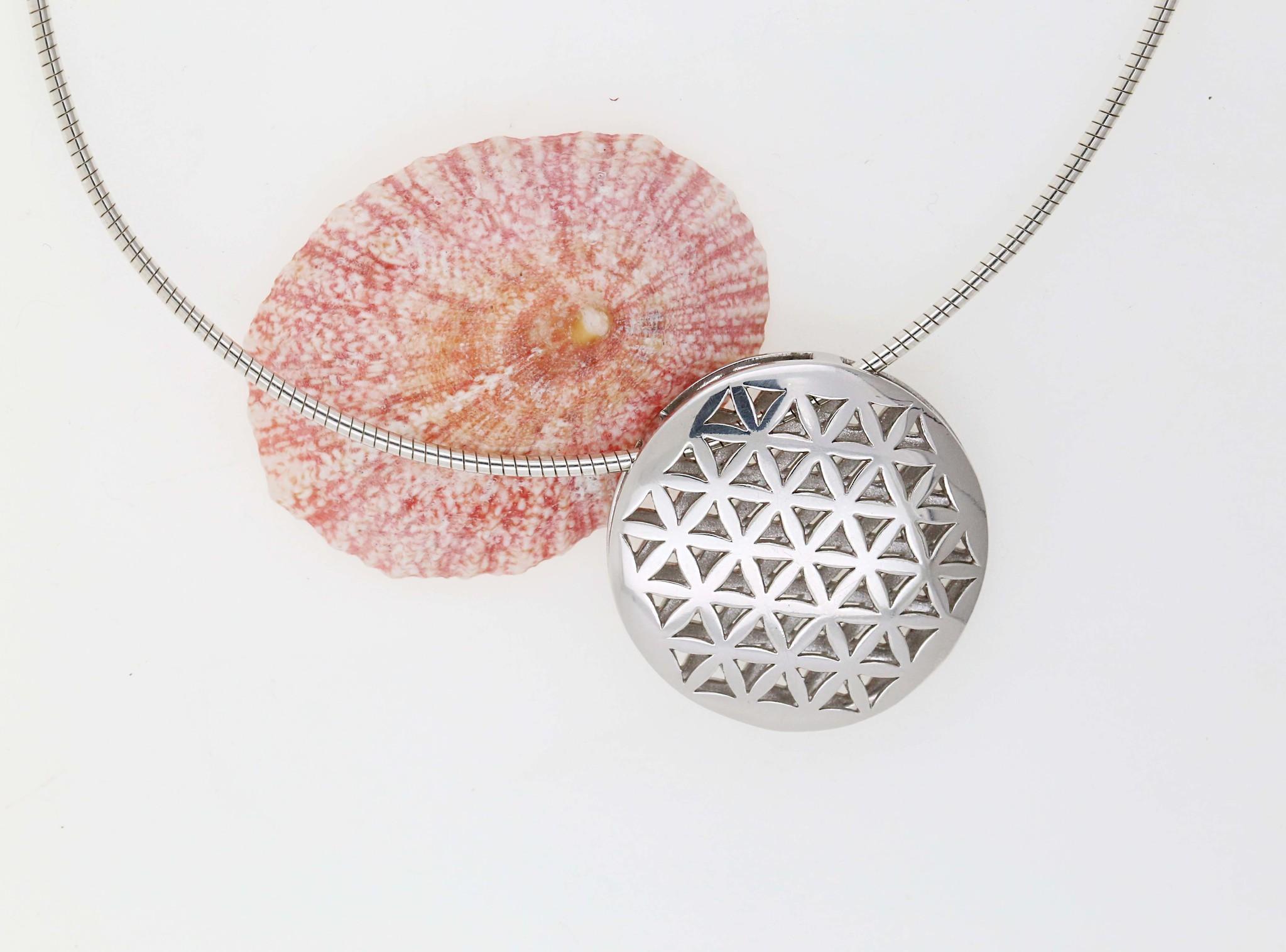 Blume des Lebens 1: Anhänger aus 925er Silber rhodiniert