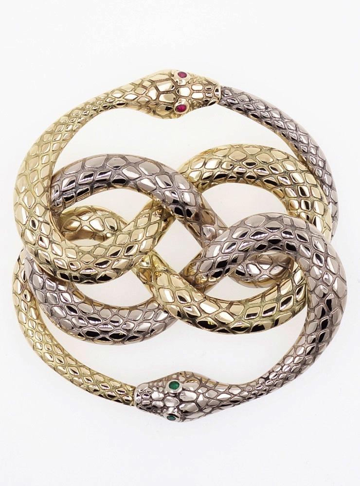 Auryn: Anhänger aus 750er Weißgold, 750er Gelbgold mit Rubin und Smaragd