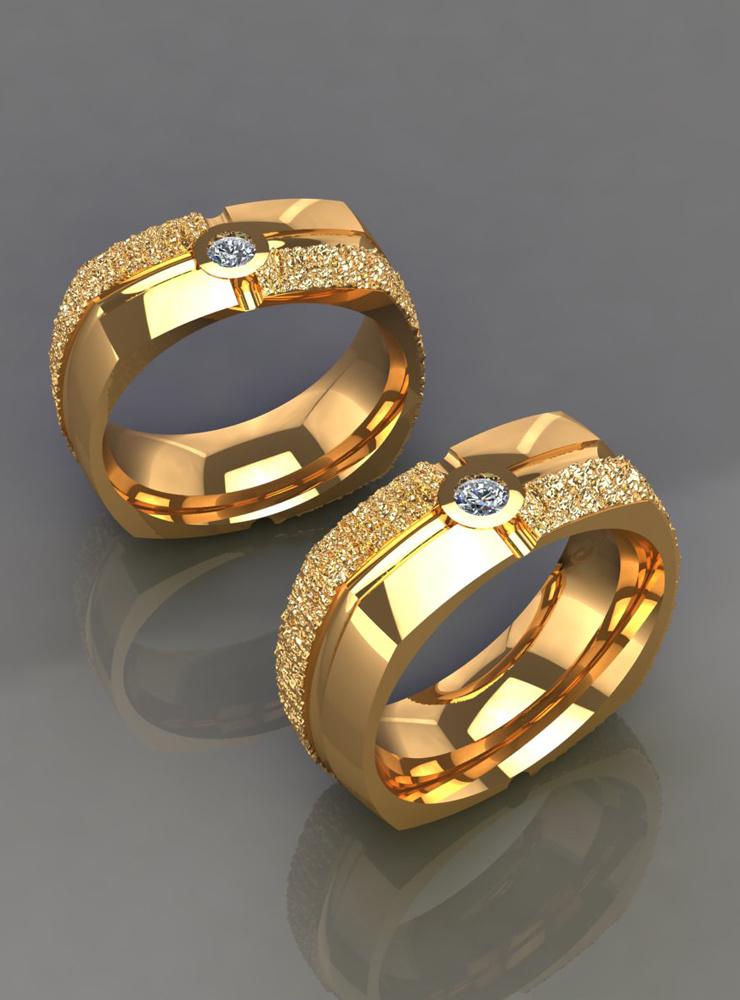 Square Dance: Ehering aus 750er Gelbgold mit Diamant
