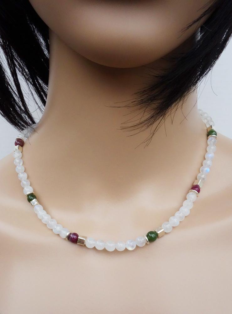 Halskette aus Mondstein, Turmalin und Silber