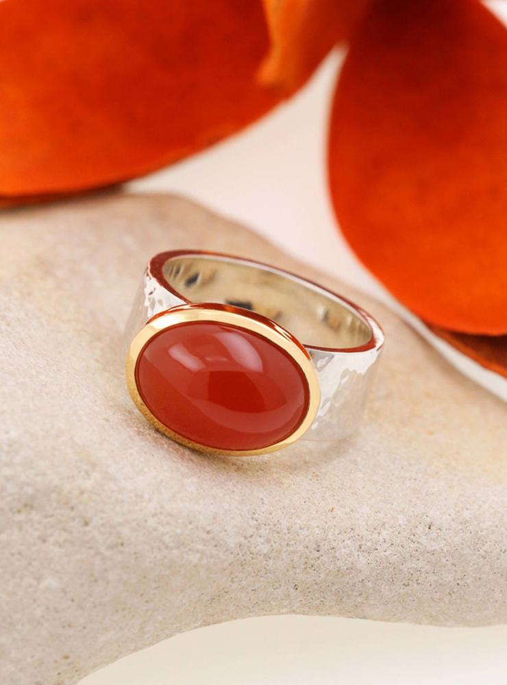 """""""New Creations"""": Ring aus 925er Silber, 750er Gold und Carneol"""