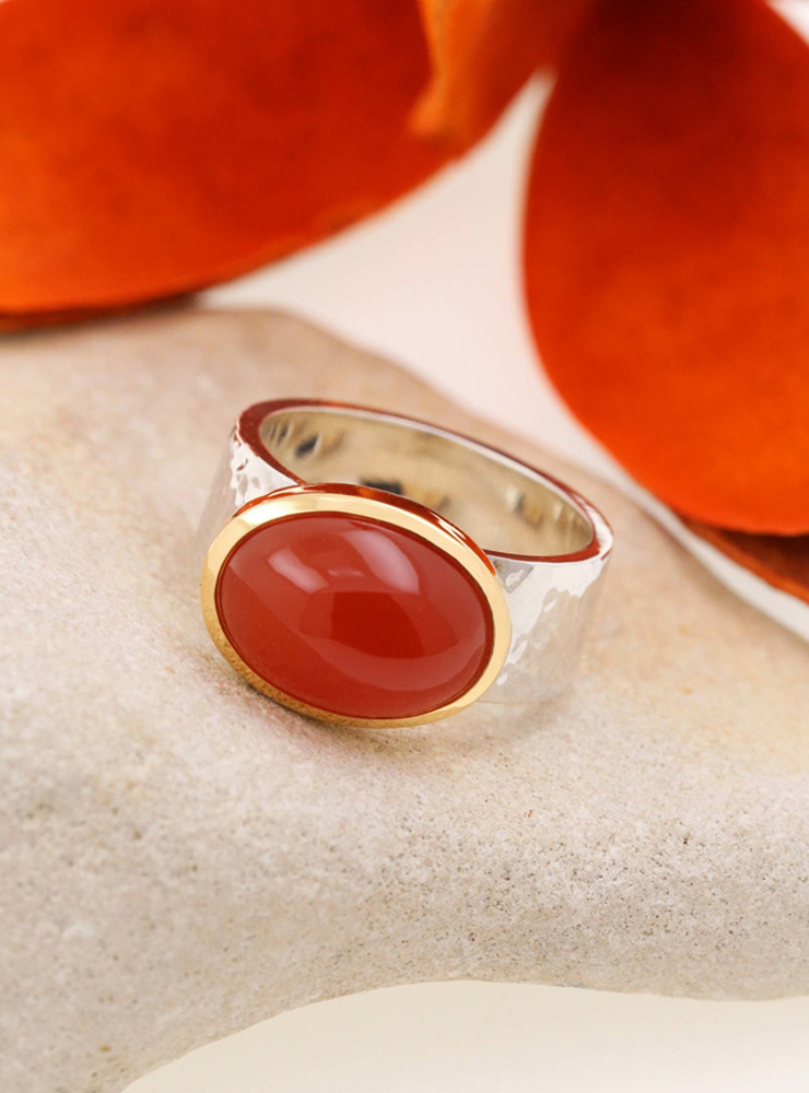 "Ring ""New Creations"" Bicolor Carneol"