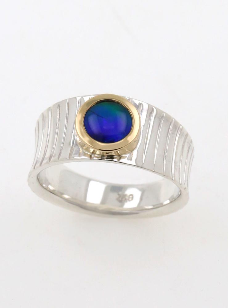 Mainhattan: Ring aus 925er Silber, 750er Gelbgold und Opaltriplette