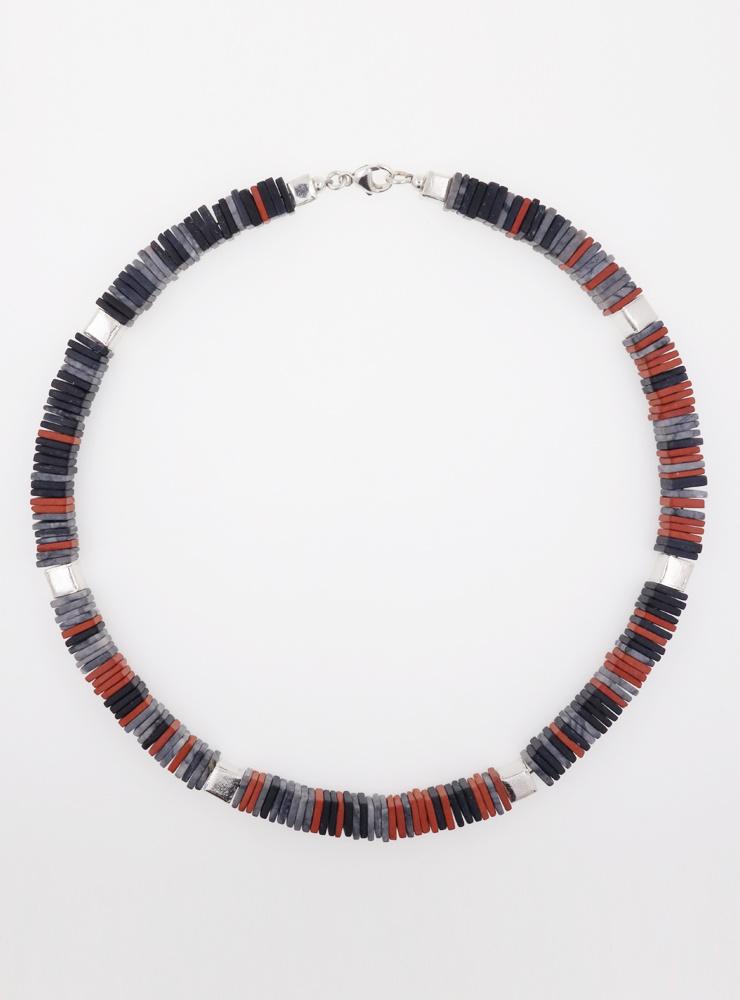 Halskette aus rotem Jaspis, Picasso-Jaspis, schwarzem Onyx und Silberwürfeln