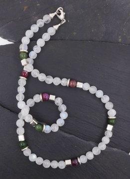 Halskette Mondstein, Turmalin, Silber