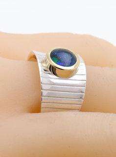 Ring Mainhattan - breit, Bicolor Opaltriplette