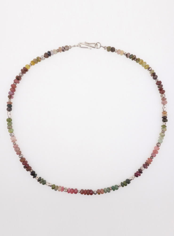 Halskette aus Turmalin multicolor facettiert mit Silberelementen