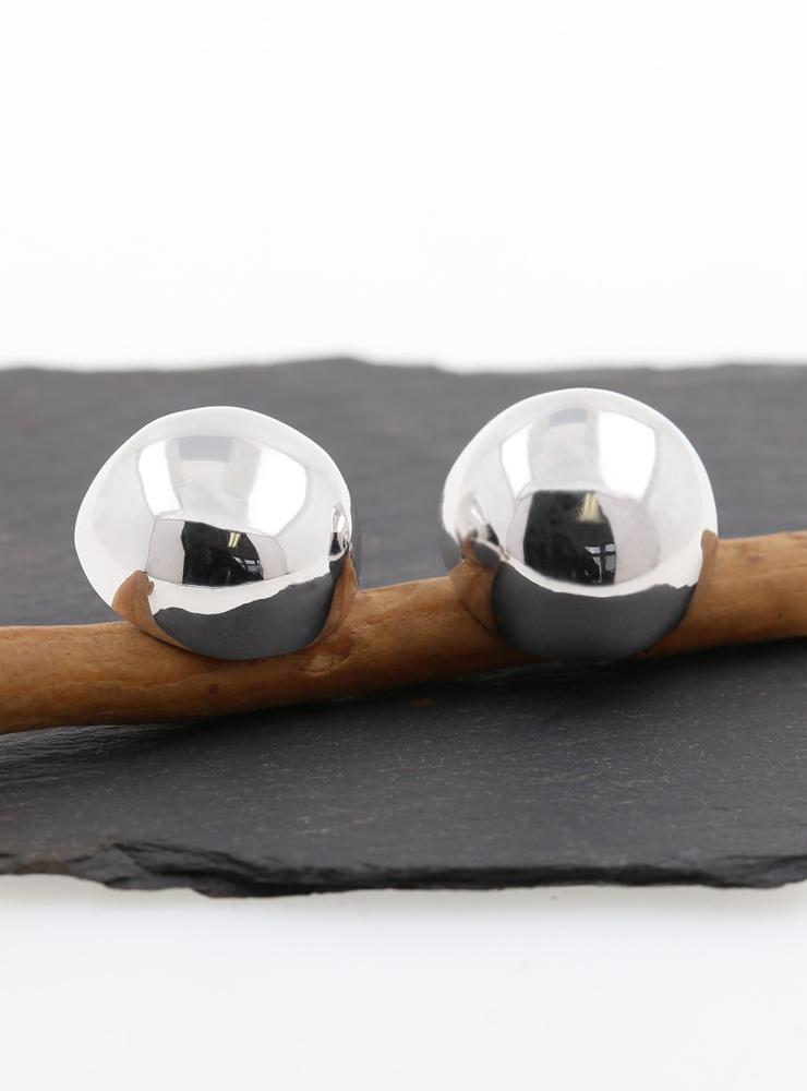 Knopf-Stecker aus 925er Silber rhodiniert