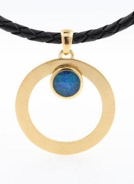 Anhänger Eyecatcher  Silber vergoldet Opaltriplette