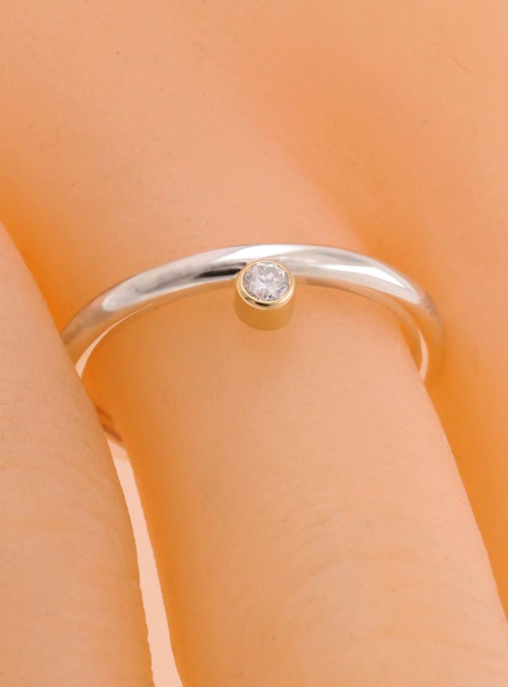 Ringlein 2: Bicolor Ring aus 925er Silber, 750er Gold und seitlichem Diamant