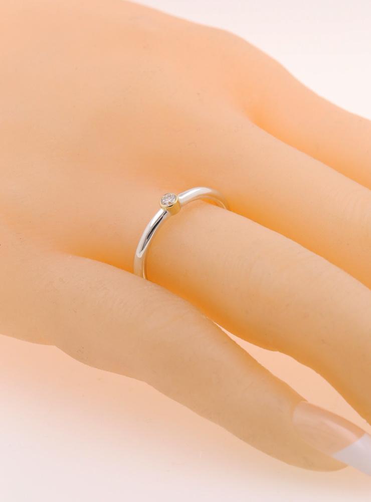 Ringlein 1: Bicolor Ring aus 925er Silber, 750er Gold und Diamant