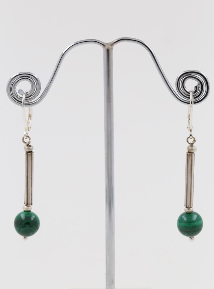 Ohrringe aus Malachit und Silber
