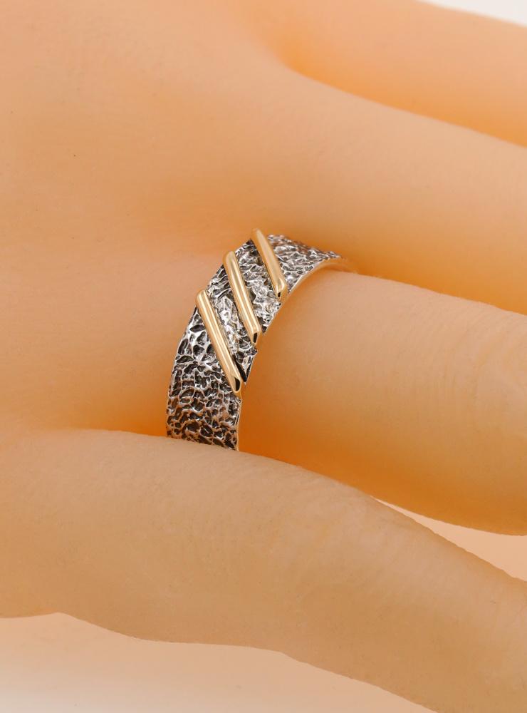 3 Streifen: Bicolor Ring aus 925er Silber und 750er Gold