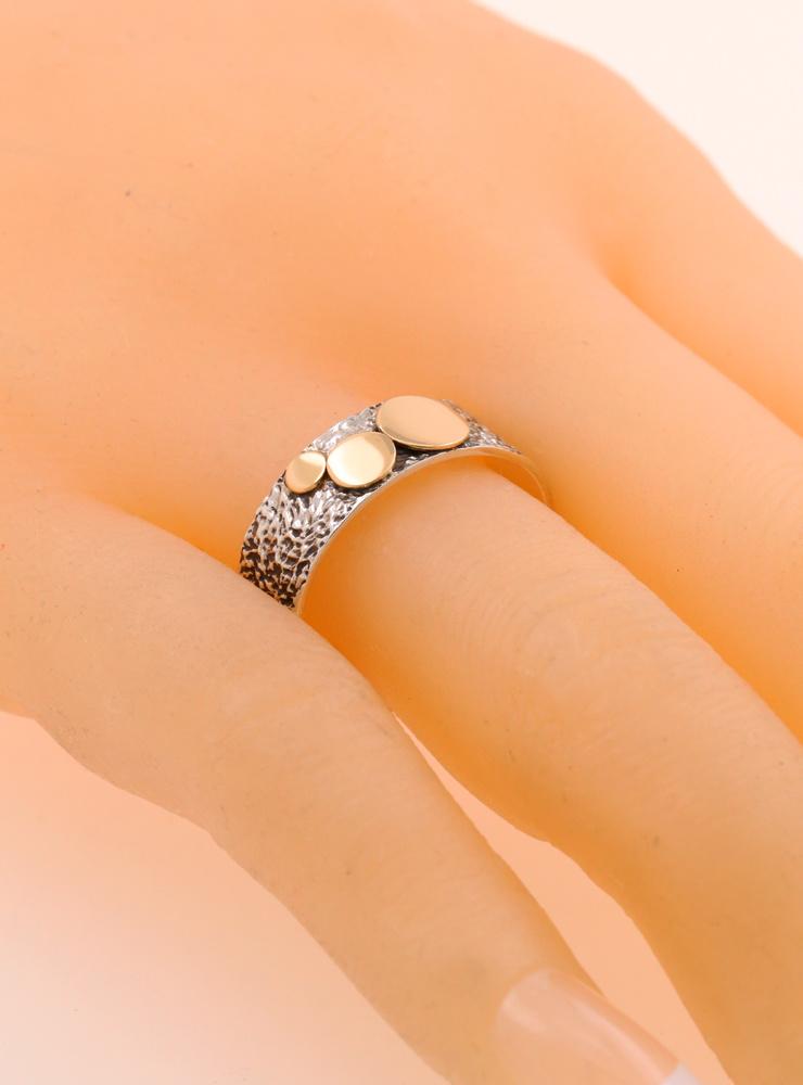 3 Kreise: Bicolor Ring aus 925er Silber und 750er Gold