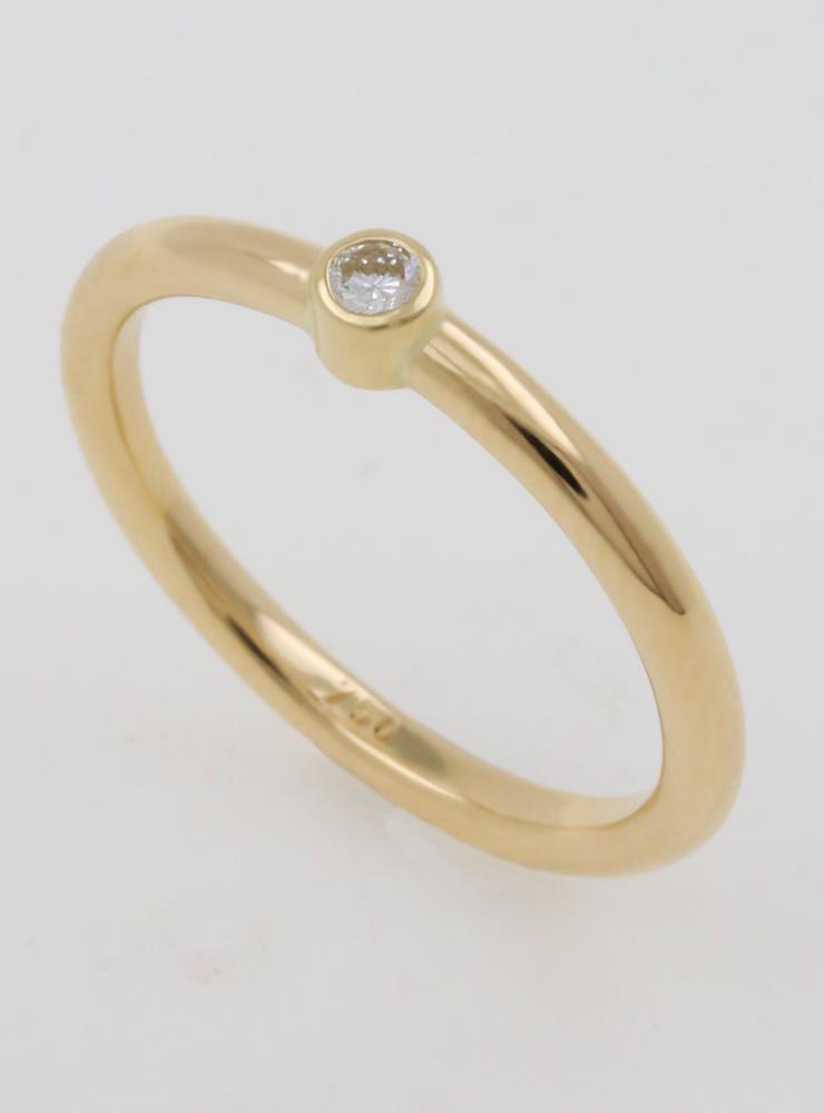 Ringlein 1: Schmaler Verlobungsring aus 750er Gold mit Diamant