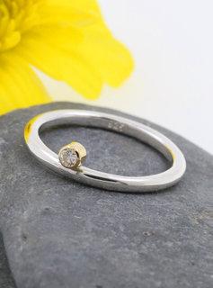"""Verlobungsring """"Ringlein 2"""" Bicolor Diamant"""