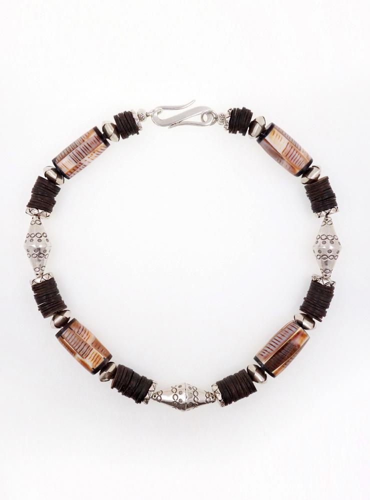Halskette Kokosnussschale, Muschel-Horn, Silber