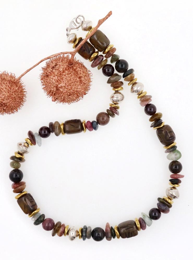 Halskette Turmalin, Jade, Granat, Messing, Silber