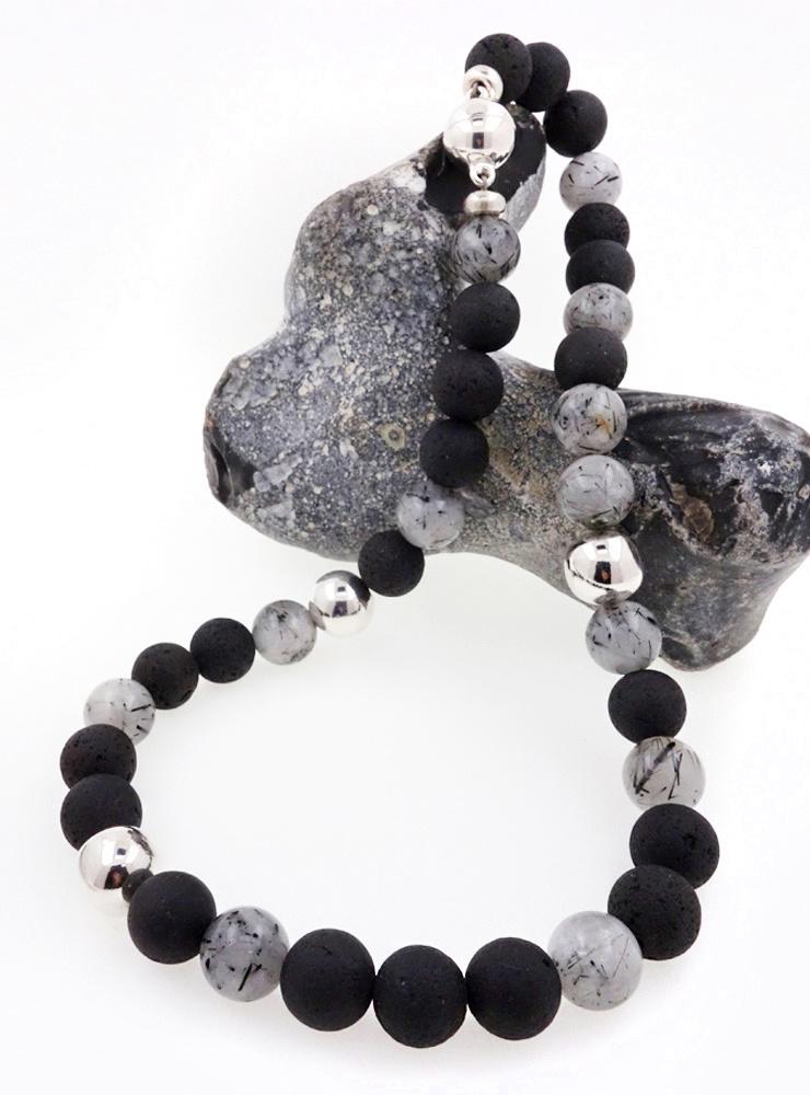 Halskette aus Rutilquarz, Lavastein und Silber
