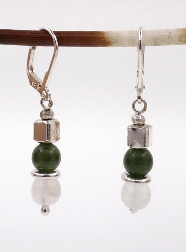 Ohrringe Mondstein, Jade, Silber