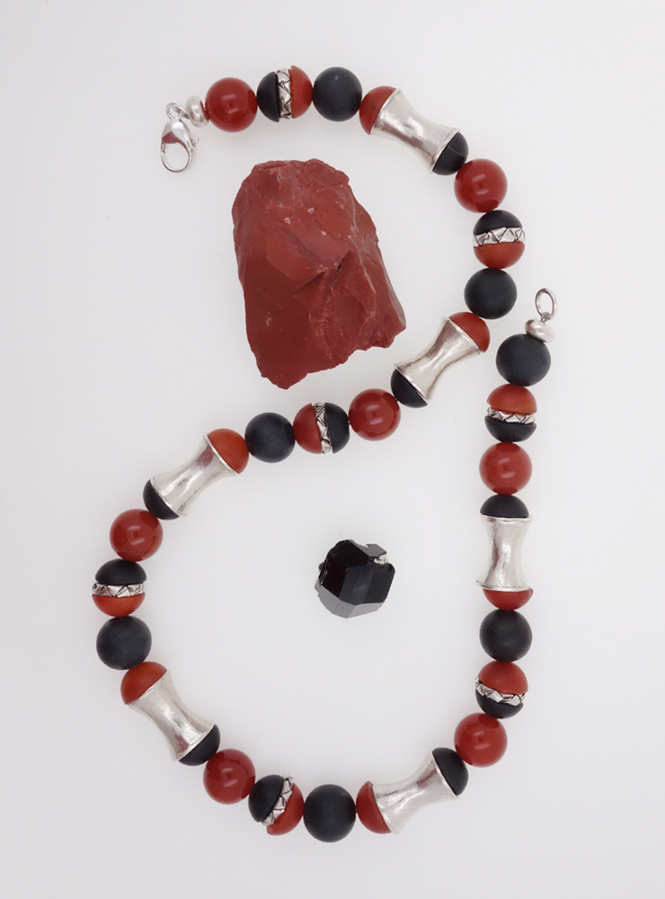 Halskette Carneol, schwarzer Onyx, Silber