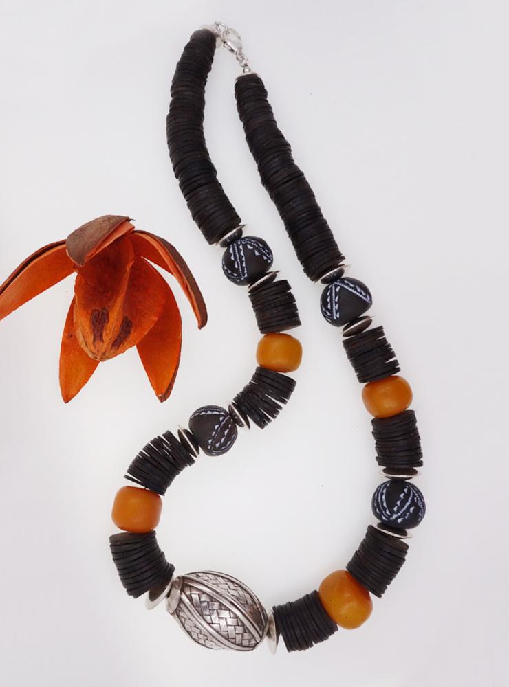 Halskette Bakelit, Keramik, Kokosnussschale, Silber