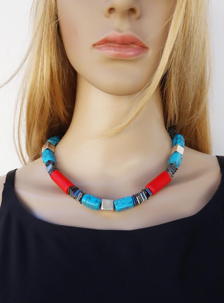 Halskette  aus Hämatit, Türkis (synth.), antiken Glasperlen und Silber