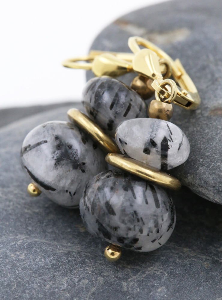 Ohrringe aus Rutilquarz, Messing und Silber vergoldet