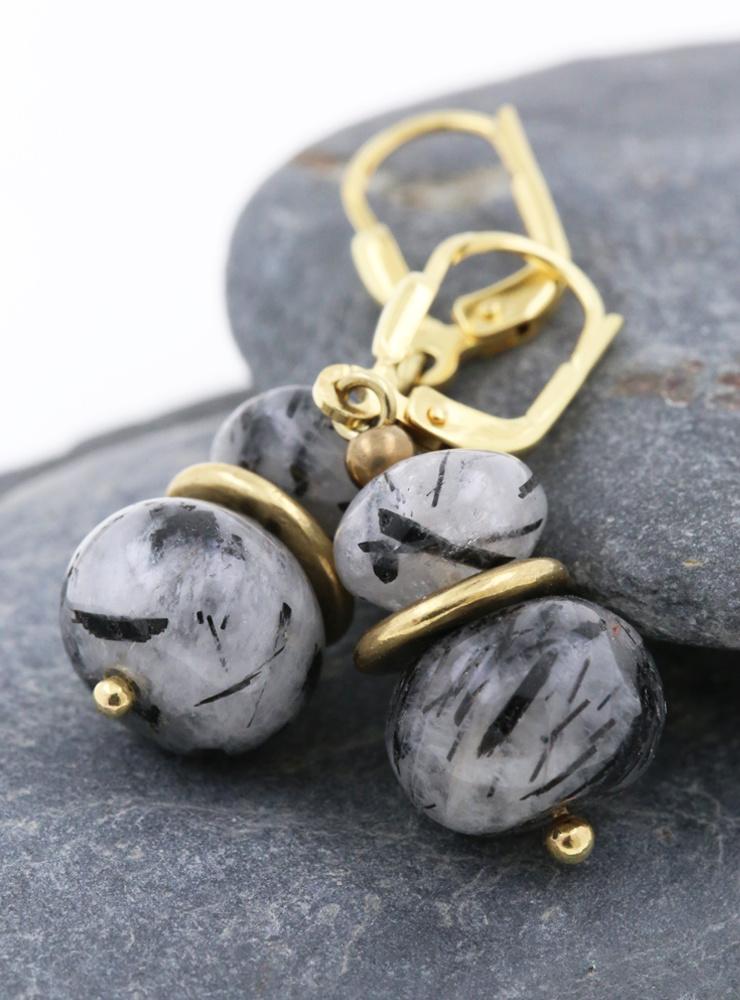 Ohrringe aus Turmalinquarz, Messing und Silber vergoldet
