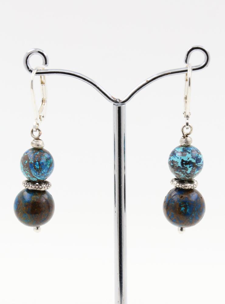 Ohrringe aus Chrysokoll und 925er Silber