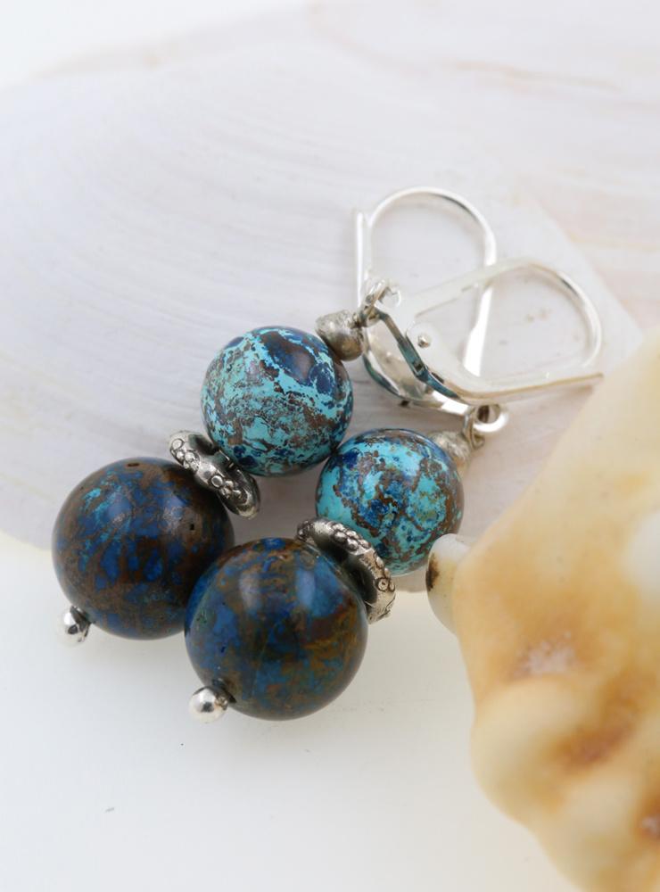 Ohrringe Chrysokoll, Silber